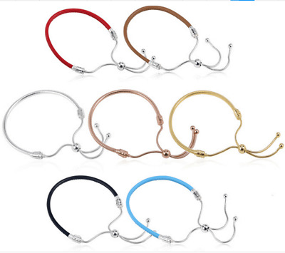 100% 925 Sterling Silver Gold Chain Real Leather Push-pull DIY European Bracelet