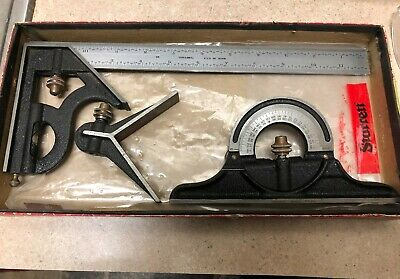 "Starrett Combination Square 3pc Set 12"" Satin Chrome Blade Great Condition"