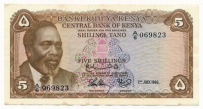1966 Kenya 5 Shillings P. 1 EF Note  Scarce First Issue