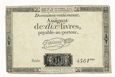 1792 France Assignat 10 Livres Note With Watermark Crisp VF+ Scarce