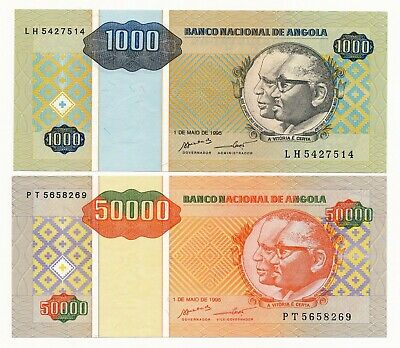 Angola 1995 2 UNC Notes 1000 & 50000 Kwanzas Africa