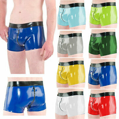 100%Latex Gummi Unisex Boxer Shorts,Shorts mit niedriger Taille zipper SizeS-XXL