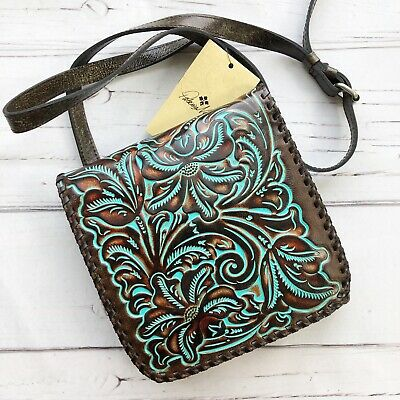Patricia Nash Granada Tooled Leather Crossbody Bag Turquoise Teal Brown new
