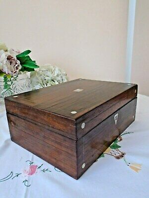 Beautiful Antique Rosewood Jewellery Sewing Box With Mop And Pewter Inlay