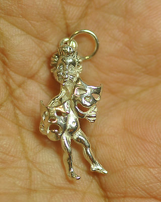 Greek Mythology Comedy tragedy dance song theatre mask 925 Sterling Silver c