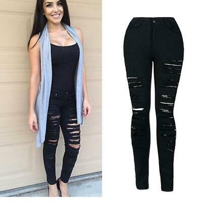 Womens Denim Skinny Ripped Pant High Waist Stretch Jeans Slim Pencil Trousers