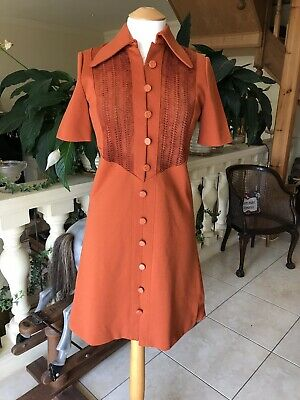 Vintage 1960s Japanese Orange Wool With Suede Panelling Short Sleeved Dress