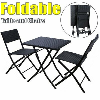 Folding Wicker Patio Rattan Bistro Set Table Chair Set Outdoor Garden Furniture