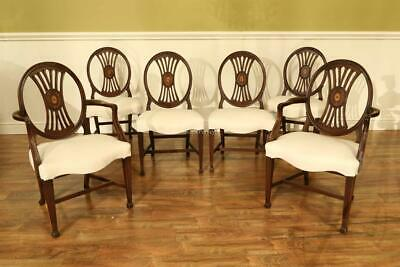 Antique Mahogany Dining Room Chairs with Inlaid Back-American Made