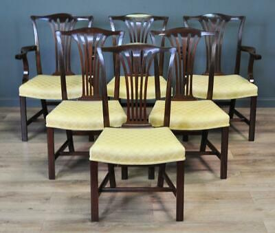 Set Of Six 6 Vintage Mahogany Chippendale Style Dining Kitchen Chairs, Carvers