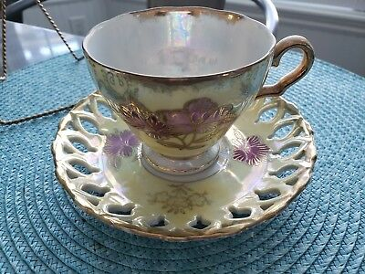 Vintage Royal Sealy China Floral Lusterware Gold Trimmed Tea Cup & Saucer, Japan