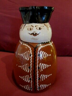 Very Rare Antique 1800'S Slip Decorated Figural Wine Jug Soldier Pattern