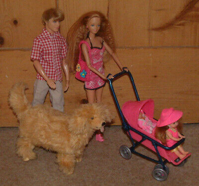 Preg Midge/Barbie jointed hybrid + Ken Shelly baby FAMILY BUNDLE + vintage dog