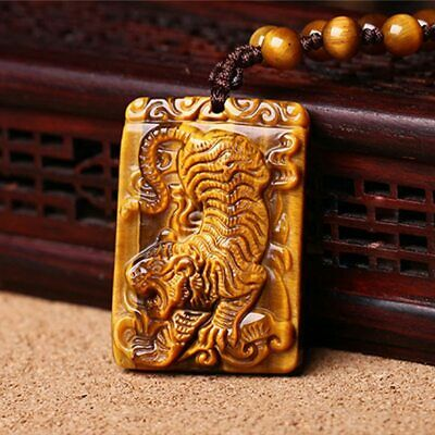 Tigers Eye Stone Pendant Hand Carved Tigers Necklace With Chain For Men Women