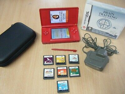 Red Nintendo Ds Lite Bundle Console Charger Stylus Pen Carry Case And 8 Games