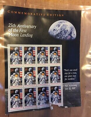 Apollo 11 25th Anniversary First Moon Landing Stamp Sheet