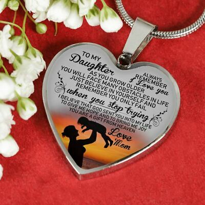Heart Pendant Silver Love Mom - To My Daughter Necklace Gift From Mom Charm