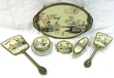 Vintage Regent Of London 6 Piece Vanity Dresser Set Tray Brushes Jar Geisha Girl