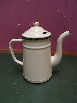 ANTIQUE VINTAGE FRENCH CREAM COLOURED ENAMEL COFFEE POT with GREEN BANDING