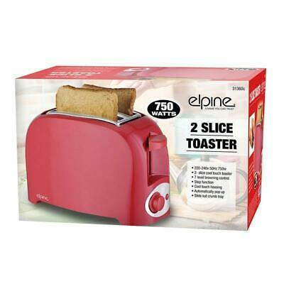New UK Plug Cool Touch 750w Two Slice Toaster Bread Automatically Pop Up