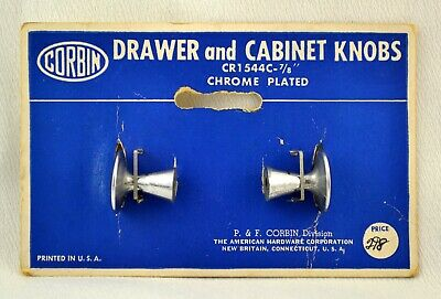 Vtg Lot of 2 Corbin Drawer and Cabinet Knobs Round Chrome Plated CR1 544C 7/8""