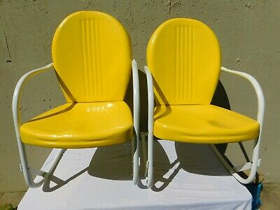 Restored 1938 Retro Metal Lawn Chairs. Mfg SHOTT Inc Cincinnati Ohio