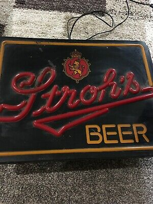 Nice Vintage Stroh's Beer Brewery Bar Light Up Sign Electric Read Description