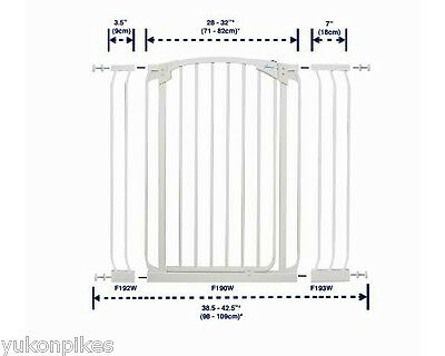 """38.5""""-42.5"""" XTall White Auto-Close Adjustable Child, Baby & Pet Safety Gate"""