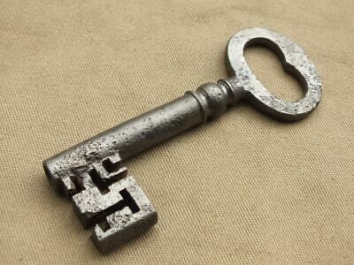 Large Antique Victorian Iron Key For Padlock / Door, Vintage Key