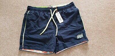 New Mens Superdry Beach Volley Swim Shorts Darkest Navy , size large