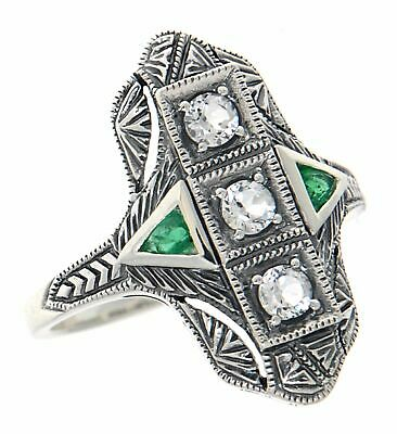 Art Deco Style Filigree Ring White Topaz Emerald Accents Sterling Silver