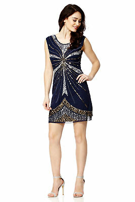 1920s Art Deco Sequin Embellished Gatsby Flapper Party Dress Navy New UK 10