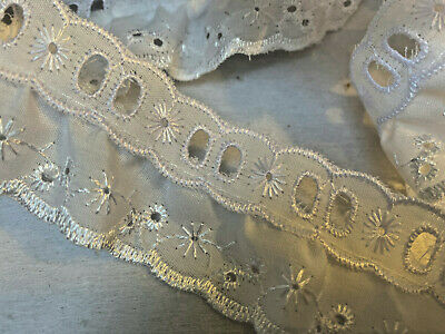 Single Frilled Gathered Ribbon Slot Broderie Anglaise Lace Trim Choose Colour