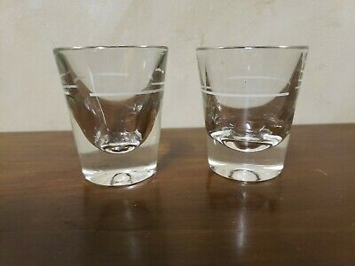 Vintage Pair of Heavy Duty - Lined - Bar Shot Double Shot Glasses, Federal Glass