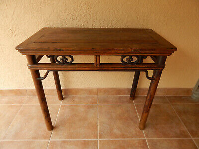A truly fine high design Chinese wine table of elm wood