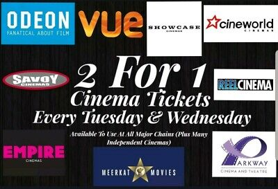MEERKAT MOVIES 2-for-1 CINEMA TICKET CODE, Odeon, Cineworld, Showcase, Vue, Emp