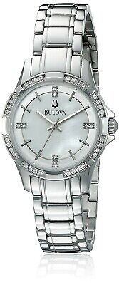 Bulova 96L191 Women's Mother of Pearl Dial Crystals on Bezel Watch MSRP $299