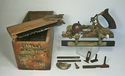 w Vtg STANLEY No. 45 COMBINATION PLANE Lot w/Orig Wooden Box (no lid)+22 Cutters