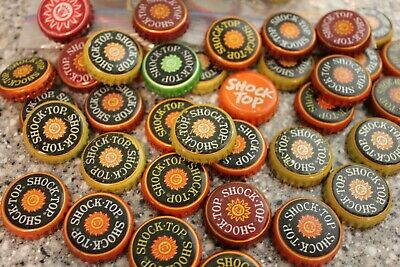 100 Shock Top Beer Bottle Caps Bright Mixed Colors No Dents Free Fast Shpg!