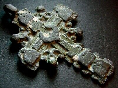 ANCIENT BRONZE CROSS RARE. RELIGIOUS ARTIFACT 17 - 18 CENTURY. 55 mm. (R.029)