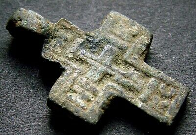 ANCIENT BRONZE CROSS RARE. RELIGIOUS ARTIFACT 14 CENTURY. 24 mm. (R.050)