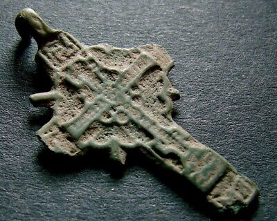 ANCIENT BRONZE CROSS RARE. RELIGIOUS ARTIFACT 16 - 17 CENTURY. 30 mm. (R.007)
