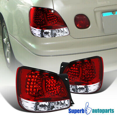 For 98-05 Lexus GS300/GS400 Red Clear LED Tail Light Rear Brake Lamps Pair