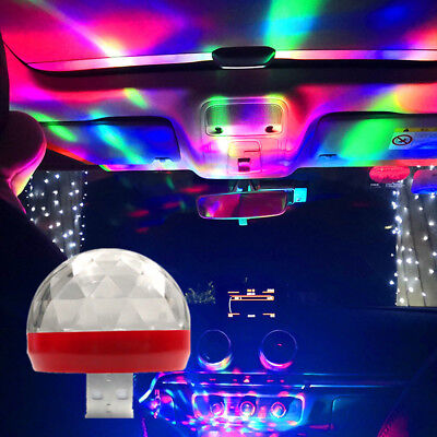 Mini USB RGB LED Car Interior Light Neon Atmosphere Ambient Music Control Lamp
