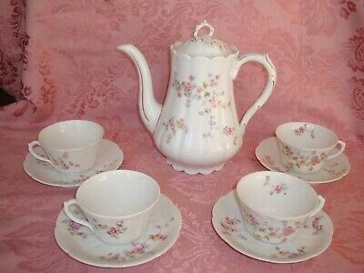 Antique Limoges Tea / Coffee / Chocolate Set, Pot & 4 Cups, Pink Yellow Roses