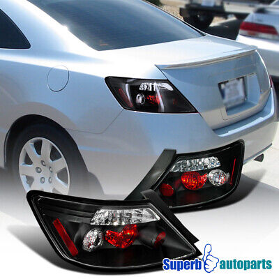 For 2006-2011 Honda Civic 2dr Coupe Tail Lights Rear Brake Lamps Black