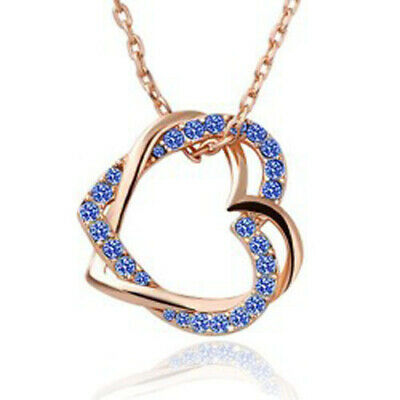 18K Rose Gold Filled Necklace Austrian Crystal Wrap Double Heart Pendant Jewely