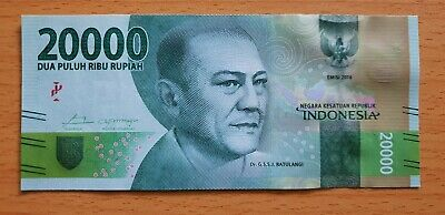 INDONESIA 20000 (20,000) Rupiah 2016 2017 P158br Replacement XBK UNC Banknote