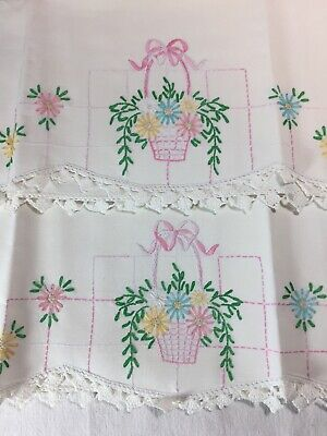 Pair Vintage Cotton Pillowcases of Embroidered Flower Basket and Crocheted Trim