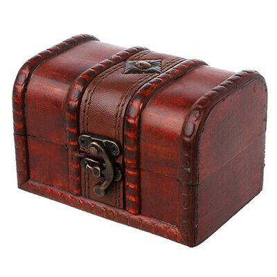 Rustic Wooden Colonial Style Treasure Chest Vintage Postcard Storage Box Welcome